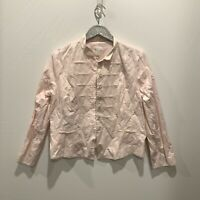 Chicos Light Pink Button Front Jacket Size 2 Large 12/14