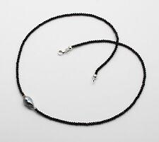 Spinell-Kette - schwarze facettierte Spinelle mit Keshi-Tahiti-Perle 44,5cm lang
