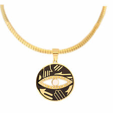 LARGE EVIL EYE NECKLACE OMEGA CHAIN STAINLESS STEEL & Enamel 1.5' inch