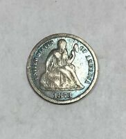 1873 Liberty Seated Dime Closed 3 Colored Toned Very Fine