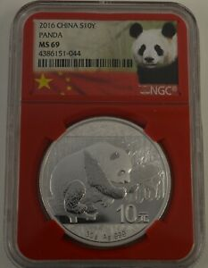 2016 China S10Y PANDA MS69 NGC .999 Silver 1 ounce RED HOLDER