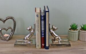 Silver Cat Bookends Home Decorative Shelf Sitter Modern Animal Ornamental Figure