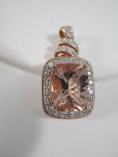 3.22ctw Cushion Morganite Diamond Pink Tourmaline 10K RG Pendant Designer $2400