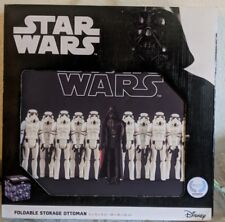 "15"" Star wARS FOLDABLE STORAGE OTTOMAN BIN BOX FEATURING VINTAGE ACTION TOYS"