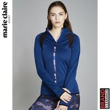 Marie Claire Sport Reach Camo Warm Up Jacket Running Training Ladies Blue 50% Of