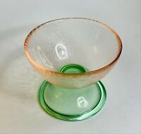 VETRERIA LUX Footed GLASS DESSERT COMPOTE BOWL Candy Pink & Green Made In ITALY