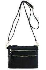 Multi Zipper Pocket Small Wristlet Crossbody Bag Black