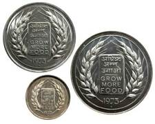 INDIA 50 Paise + 10 Rupees + 20 Rupees 1973 GROW MORE FOOD - F.A.O 52.50g Silver