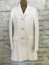 Reiss Oragon White Ivory Ribbed Cotton Summer Coat Long Jacket SMALL UK 8