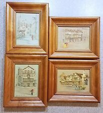 "(4) 6 1/2"" X 8""  Vintage Framed Clyde Cole Lithograph"