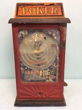 """Antique Arcade Amusement Game, """"Poker"""" Coin Operated 1 Cent"""
