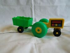 Vintage Fisher Price Little People Farm Tractor & Trailer Green and Yellow
