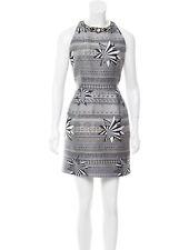 NWOT $1300 Matthew Williamson Grey Embellished Jacquard Dress - UK 10, AU 10-12