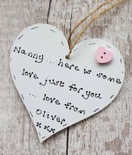 Personalised mothers day gift for nanna nanny mum  handmade wooden heart
