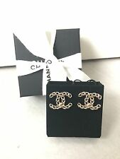 BNIB Auth Chanel chain GOLD PLATED CC LOGO EARRINGS 2017