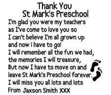 Personalised Teacher Thank You Vinyl Decal Sticker Box Ribba Frame Gift School