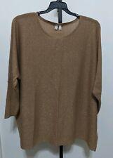 Madison Women's Fit Plus Gold Metallic Oversize Pullover Sweater Lightweight XL