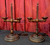 PAIR OF PRIMITIVE ANTIQUE COUNTRY ADJUSTABLE WOODEN CANDLESTICKS