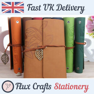 A7 A6 A5 Refillable Notebook Leaf PU Leather Kraft Journal Embossed Flux Crafts