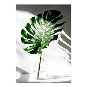 Green Leaf Plant Wall Art Canvas Poster Nordic Print Skandinavian Decoration