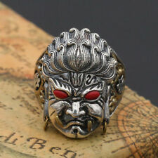 Men Solid 925 Sterling Thai Silver Ring Deity Bodhisattva Open Size 10 11 12 13