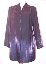 "VINTAGE NUOVO 1980-90'S Shiny & Deep Purple Lungo Blazer UK 18 - 42-44"" Busto"