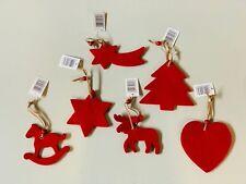 6 x  Bastel Baumbehang Weihnachtsbaum Filz Tiere Deko Stern Pferd Herz Elch Rot
