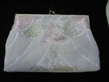LaRegale Macau White&Pastel Glass Beaded Shoulder/Clutch Evening Bag/Purse