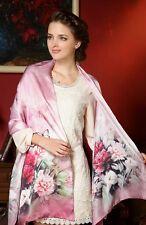 Foulard Echarpe Soie 175 X 52cm Rose Bouquet de Fleurs - Silk séide scarf shawl
