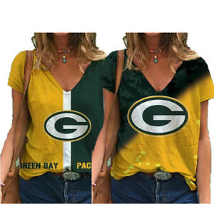 Green Bay Packers Women's Short Sleeve T Shirt Casual Loose V-Neck Blouse Gifts