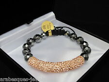 QUALITY MAGNETIC SHAMBALLA TUBE BRACELET PEACH/GOLD SILVER 925/GENUINE CRYSTAL