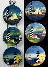 "3 Hand Painted Lighthouses 6"" Plates Wall Hanging Display With Metal Plate Frame"