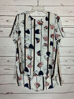 Daniel Rainn Stitch Fix Women's L Large White Floral Short Sleeve Top Blouse