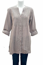 NEW EVANS PURPLE PLUM OR  BROWN COTTON EMBROIDERED BLOUSE TOP TUNIC 18 22 24