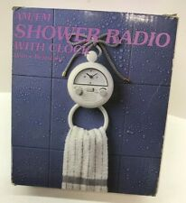 Vintage Shower Am/Fm Radio Quartz Clock Water Resistant -Nob