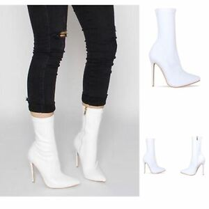 Womens Ladies Lycra Stretch High Stiletto Heel Pointed Toe White Ankle Boots Sz