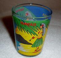 """Hawaii Shot Glass """"Aloha"""" Palms/Beach/Hula Girls Design"""