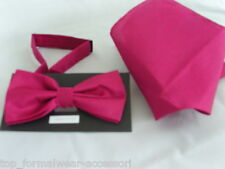 (GG) Raspberry Rose Polyester Pre-tied Mens Bow tie and Hankie Set