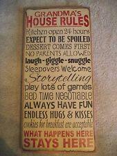 GRANDMA'S HOUSE RULES,  SPOILED,  SLEEPOVERS, GAMES, KISSES primitive wood sign