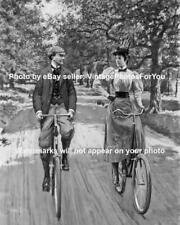 Old Antique Vintage Couple Man Woman Riding Ride Bikes Bicycles Photo Picture