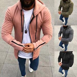 Mens Zip Hoodie Sweatshirt Jacket Pleated Long Sleeve Hooded Coat Casual Outwear