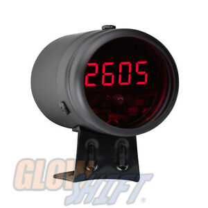 BLACK DIGITAL RACING LCD TACHOMETER TACH & RED LED SHIFT LIGHT