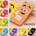 Cartoon M&M's Chocolate Candy Rubber Case For iPhone 6 6S 7 Plus 4 4S 5C SE 5 5S