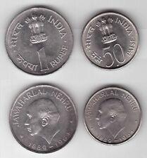 INDIA - 2 DIF UNC COINS SET: 0,5 & 1 RUPEE 1964 YEAR NEHRU