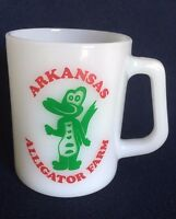 Arkansas Alligator Farm Federal Glass Mug USA Milk Glass Green Gator