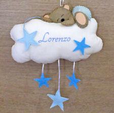 Fiocco Nascita Nuvola con Orsetto fatto a mano con ricamo personalizzato