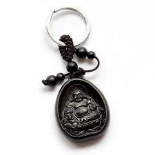 Ebony Tibet Buddhist Happy Buddha Amulet Pendant Keyring Keychain Key Chain Ring