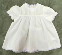 NWOT Vintage ROSALINA Lacy Embroidered Ivory Baby Girl Dress 3M