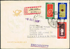 1307 GERMANY DDR TO CHILE CIRCULATED FDC REGISTERED COVER 1969 SPORTS LEIPZIG
