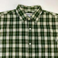 Carhartt Button Up Shirt Men's XL Short Sleeve Green Plaid Casual 100% Cotton